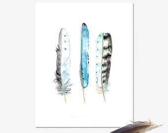 Blue Feather Print of Watercolour Painting, Boho Wall Art, Australian Seller, Archival Art Print, Nature Decor, Aqua blue artwork