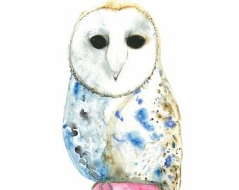 Barn Owl Print, Nursery Decor, Girls Bedroom Wall Art, Art For Children, Pink And Blue Watercolour Owl Illustration