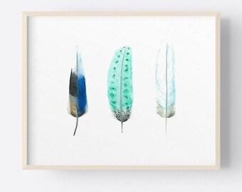 Blue Feathers Art Print, Indigo & Aqua Feather Watercolour Painting, 7 x 5, 10 x 8, A4, Landscape Format Art