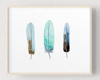 Blue Feathers Watercolour Print, Aqua Green and Indigo Feather Painting, Boho Nature Art, 7 x 5, 10 x 8, A4