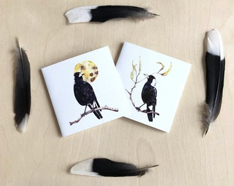 Magpies Set of Greeting Cards, Made in Australia Gift Cards, Australian Native Bird, Garden Bird Pair, Blank Inside, Watercolour Nature Art