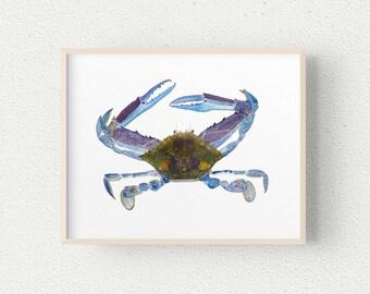 Blue Swimmer Crab Wall Art, Sea Creature Print, A4, 10 x 8, 7 x 5, Australian Beach House Home Decor, Crustacean Watercolour Painting