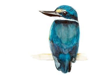 Sacred Kingfisher Watercolour Print, Turquoise Blue Australian Native Bird Painting Wall Art, Teal Home Decor, 11 x 14, A3, 12 x 16, 13 x 19