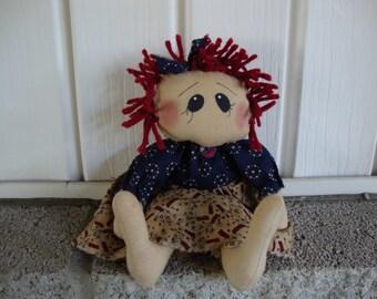 Primitive Raggedy Ann Doll~Patriotic Doll~Raggedy Ann~ Raggedy Annie~Doll~Ragdoll