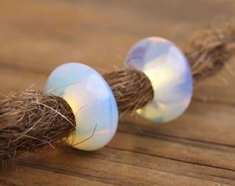 3 Natural Opalite Gemstone Dreadlock Beads 5mm Hole (3/16 Inch)