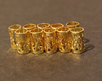 e8e28f7fc35 30 Micro Gold Dreadlock Beads - Dread Cuffs Hair Beads 4mm Hole (3 16 Inch)    FREE Stainless Steel Dread Ring 4mm