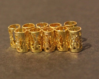 30 Micro Gold Dreadlock Beads - Dread Cuffs Hair Beads 4mm Hole  (3/16 Inch) & FREE Stainless Steel Dread Ring 4mm