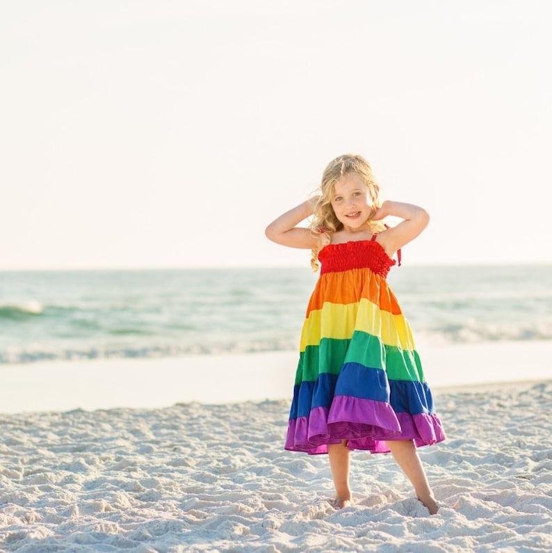 Rainbow dress  Girls rainbow twirl dress  Party dress  image 0