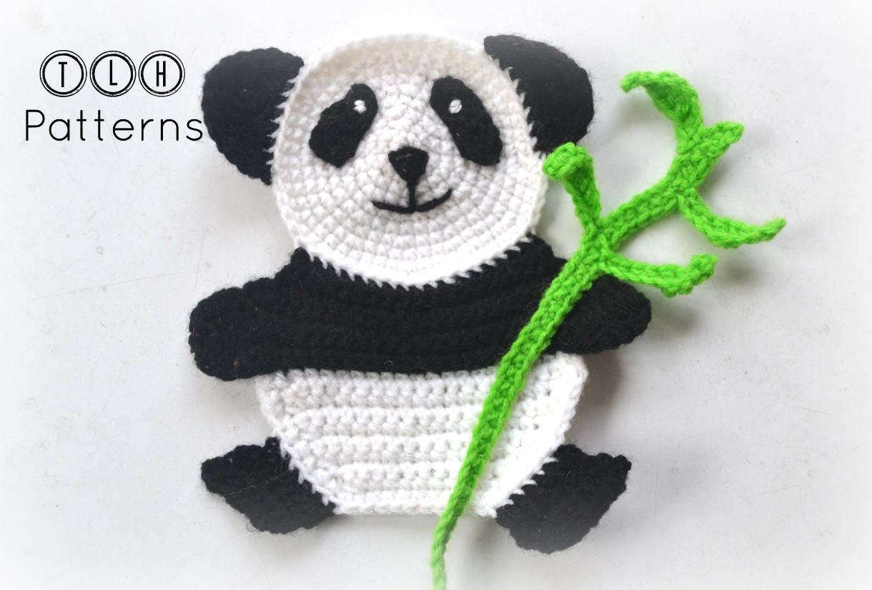 Crochet panda applique pattern, panda application, crochet animal ...