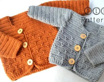 Crochet baby cardigan pattern, crochet baby sweater pattern, baby cardigan PDF pattern, sizes 3-6 and 6-12 months, pattern no. 111