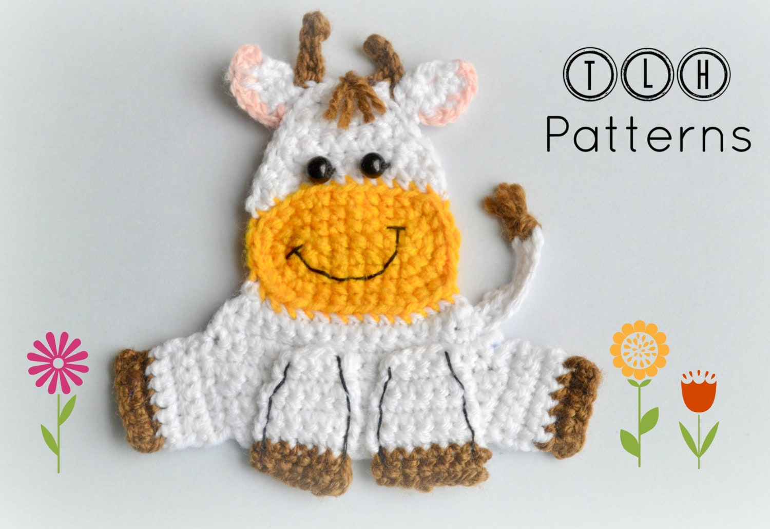 Crochet applique pattern farm animal applique crochet cow | Etsy