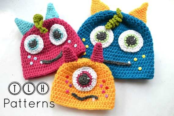 Crochet Monster Hat Pattern Crochet Hat Pattern Baby Hat Etsy