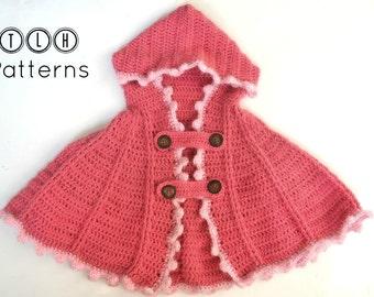 Crochet cape pattern, crochet hoodie, crochet hooded cape pattern, one size - 6 months to 2 years, pattern no. 71