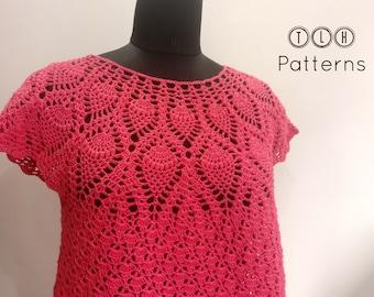 Crochet top pattern, crochet pineapple stitch pattern, crochet summer top, womens crochet top, Izara top, adult size small/medium