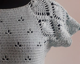 Crochet tunic pattern, crochet dress PDF pattern, crochet adult top, summer top with lace sleeve, size small/medium only, Megha tunic
