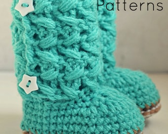 Crochet baby boots pattern, baby booties, crochet pattern baby boots, crochet baby shoes, Avery boots - 3 sizes, pattern no 78