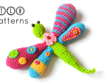 Amigurumi pattern, crochet dragonfly pattern, amigurumi dragonfly, whimsical dragonfly, pattern no 102