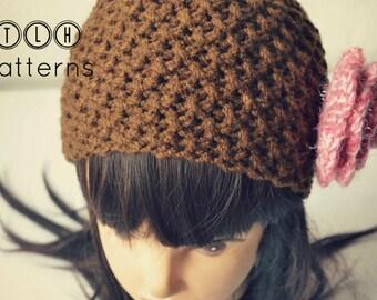 Crochet beanie pattern, crochet hat pattern, textured hat pattern, X stitch beanie - baby to adult, pattern no 80