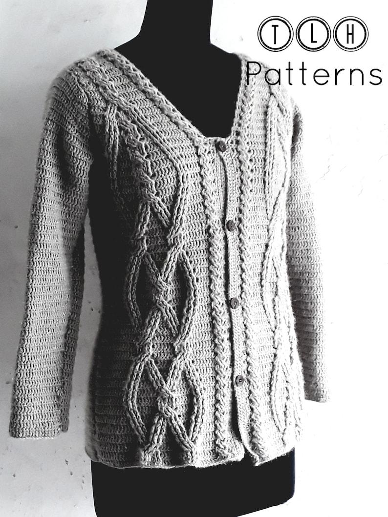 Crochet Cardigan Pattern Crochet Womens Sweater Cable Stitch Etsy