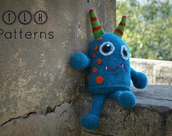 Amigurumi pattern, crochet monster pattern, amigurumi monster, monster plushie pattern, Blue Monster, pattern no 101