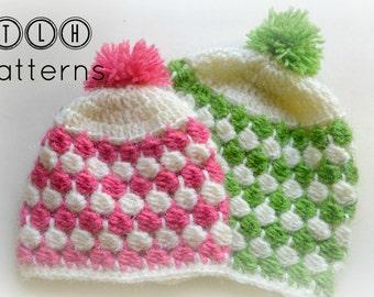 Crochet hat pattern, beanie pattern, unisex hat, baby hat, beanie with horizontal clusters - 4 sizes-newborn to toddler, Pattern no.45