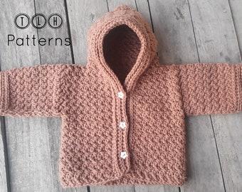 Crochet baby hooded cardigan pattern, crochet baby sweater pattern, baby cardigan crochet pattern, baby cardigan with hood