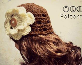 Crochet hat pattern, crochet girl hat, crochet beanie pattern, newborn to toddler 4 sizes, Brittany hat - Pattern No. 87