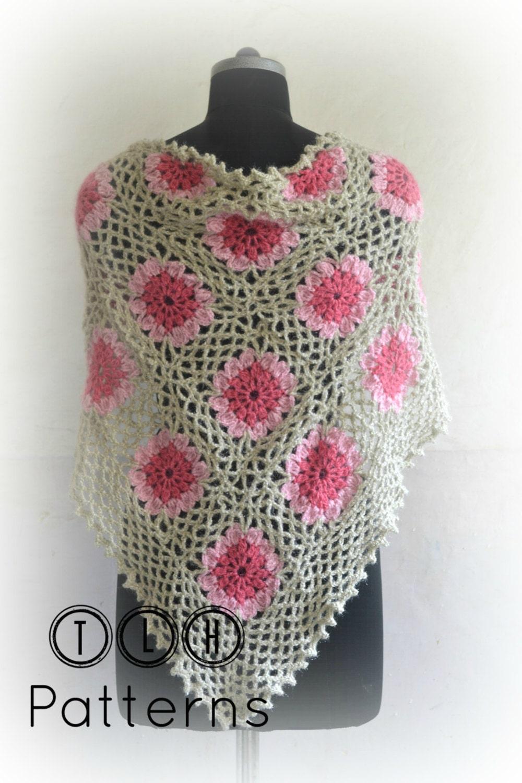 Crochet pattern, crochet shawl pattern, crochet triangle shawl ...