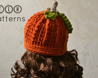 Crochet hat pattern, Crochet baby hat, photo prop, crochet pumpkin hat, 4 sizes, 6-12 months, toddler, child and adult, Pattern No. 23