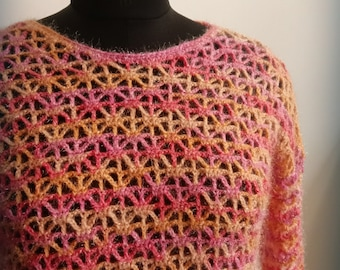 Crochet pullover pattern, crochet womens jumper, crochet sweater pattern, ladies sweater, sparkling stars pullover - 4 sizes, S, M, L and XL