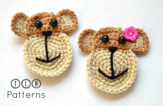 Crochet Applique Pattern Crochet Monkey Pattern Applique Etsy