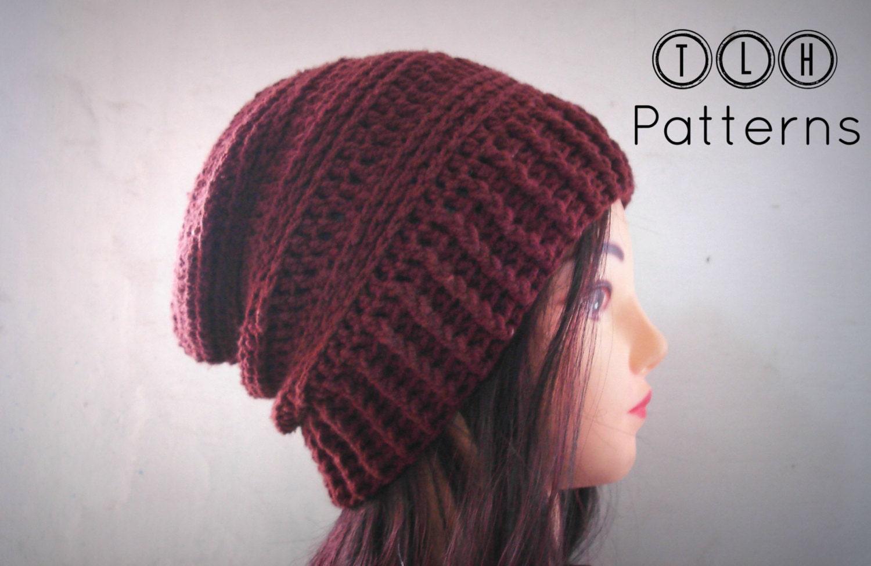 Crochet Hat Pattern Crochet Slouchy Beanie Pattern Mens Hat Etsy