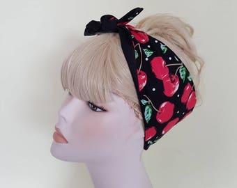 cherry  50s style bandana, rockabilly pin up psychobilly tattoo hairband headband