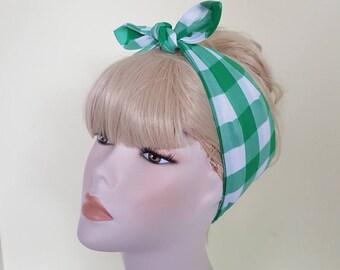 green gingham  bandana,  rockabilly pin up psychobilly  hairband headband