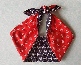 anchor nautical sailor red bandana, rockabilly pin up psychobilly tattoo hairband headband
