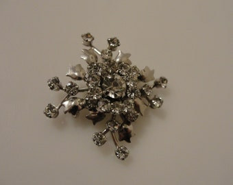 "Vintage layered rhinestone pin brooch 1 5/8"""