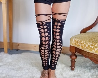 Braided leg warmers, slit weave thigh highs ,festival clothing, hoop fashion, ripped leggings