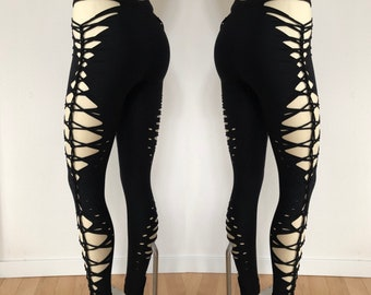 884757a71bc0b7 Goddess 2Braided Yoga Leggings, boho, festival clothing, hoop fashion, ripped  leggings, pole dance, slit weave