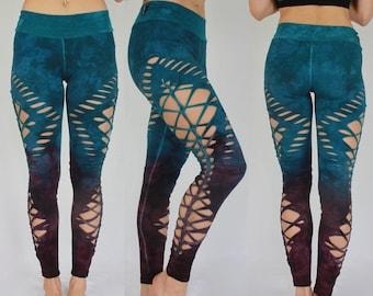 "Yoga Braided Leggings, sexy women's leggings, Hand Dyed ""Blue Cherry"""