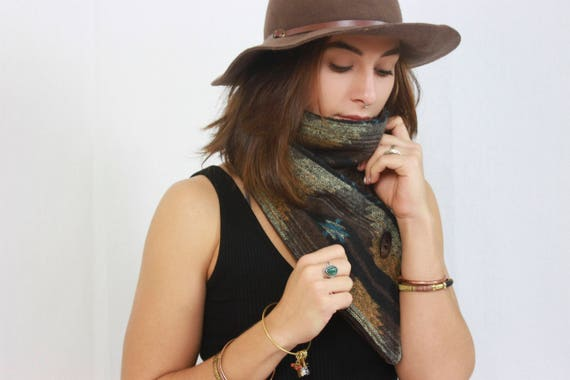 Aztec Brown Snap Scarf