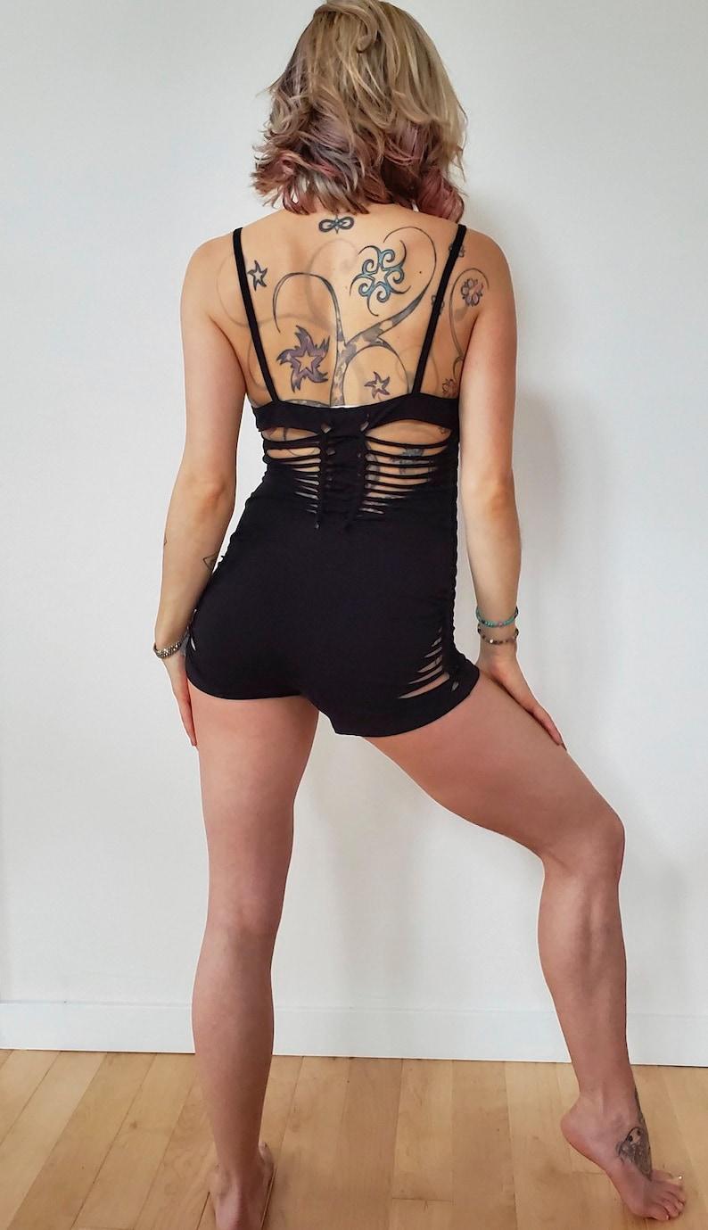 slit weave Festival Goddess Bodysuit Mini Romper Yoga pole dance