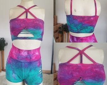 Cotton Candy Reversible Crop top Hand dyed Yoga Slit weave Fire hula hoop