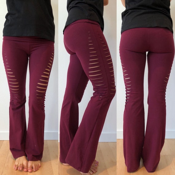 High Waisted Foldover Slit pants//Yoga//Festival//dance