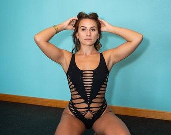 Awaken Braided bodysuit Yoga, Festival, dance, pole, hoop fashion, slit weave