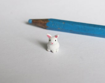 White bunny miniature, polymer clay sculpture, made to order