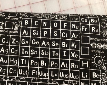 HALF YARD cut of Timeless Treasures - Math and Science by Gail Cadden - Periodic Table in black