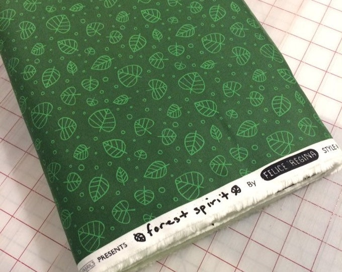 HALF YARD cut of Forest Spirit - Scattered Leaves in Pine by Felice Regina for Windham Fabrics