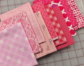 Bundle of Ten -  Pink Fat Quarter cuts - Set #26