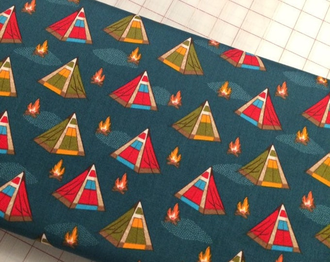 HALF YARD cut of Bear Camp - Tents in Night by Whistler Studios for Windham Fabrics