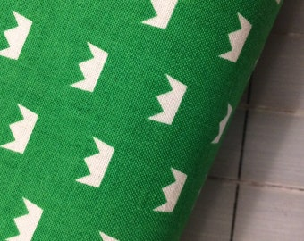 Half Yard cut of Crowns in Green from Let Them Be Little by Simple Simpon and Co. for Riley Blake